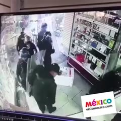 Riot police do free shopping