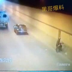Scooterist is struck twice by the same tires