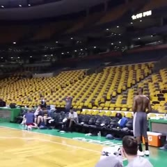 After todays practice at the Garden @kingjames full court shot!